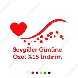 14 Şubat Sevgililer Günü Dalgalı Simge ve Kalpler Sticker