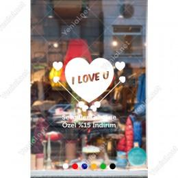14 Şubat Sevgililer Günü I Love You Yazısı ve Oklar Sticker