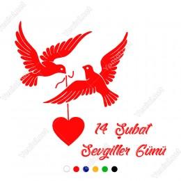 14 Şubat Sevgililer Günü İçin Ağzında Kalp Taşıyan Kuş Sticker