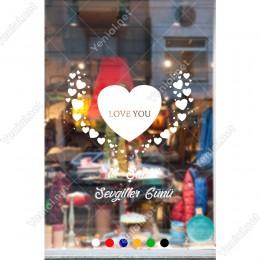 14 Şubat Sevgililer Günü İçin Büyük Küçük Kalp Kuş Sticker