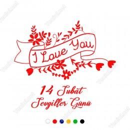 14 Şubat Sevgililer Günü için Çiçekler İçinde Kalp Sticker