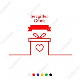 14 Şubat Sevgililer Günü İçin Hediye Kutusu ve Kalp Sticker