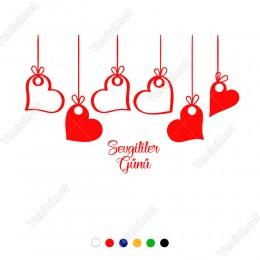 14 Şubat Sevgililer Günü İçin İplerle Asılı Salınan Kalp Sticker