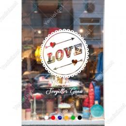 14 Şubat Sevgililer Günü için Love Yazısı ve Kalpler Sticker