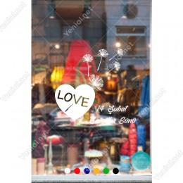 14 Şubat Sevgililer Günü Love Yazısı ve Polenler Sticker