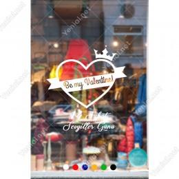 14 Şubat Sevgililer Günü Taç ve Kalpler Sticker
