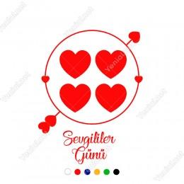 14 Şubat Sevgililer Yuvarlağın İçinde Kalpler Olan ve Ok Sticker