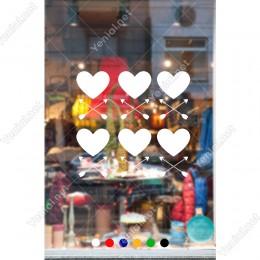 Sevgililer Günü 6 Adet Kalp ve Çapraz Oklar Kalp Sticker