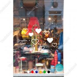 Sevgililer Günü Aşağıya Sallanan Kalp ve Yıldızlar Sticker