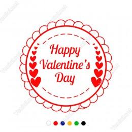 Sevgililer Günü Çerçeve İçinde Valentine's Day ve Kalpler Sticker