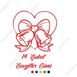 Sevgililer Günü Hediye Paketi Şeklinde Kalp Sticker