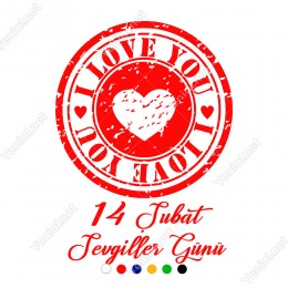 Sevgililer Günü İçin I Love You Yazısı ve Kalp Sticker