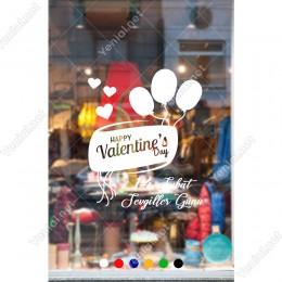Sevgililer Günü İçin Uçan Balonlar ve Kalpler Sticker