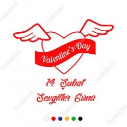 Sevgililer Günü İçin Uçan Kanatlı Kalp Sticker