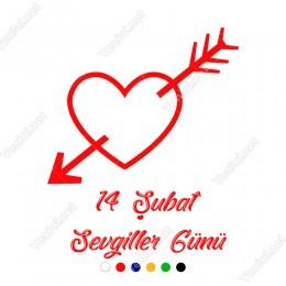 Sevgililer Günü İçinden Ok Geçmiş Kalp Sticker