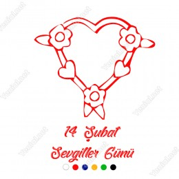 Sevgililer Günü Üzerinde Çiçekler Bulunan Kalp Sticker