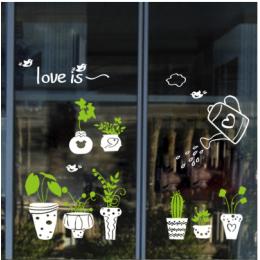 Çiçekçilere Özel Kaktüs Cam Vitrin Sticker Yapıştırma