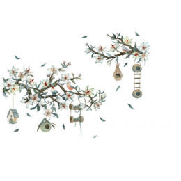Çiçekçilere Özel Kuş ve Ağaç Dalı Cam Vitrin Sticker Yapıştırma