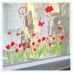 Çiçekçilere Özel Lale Dekorasyon  Cam Vitrin Sticker Yapıştırma