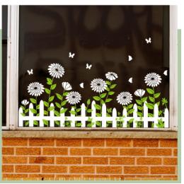 Çiçekçilere Özel Papatya Dekorasyon  Cam Vitrin Sticker Yapıştırma