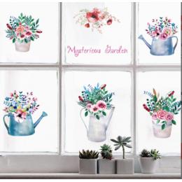 Çiçekçilere Özel Mysterious Garden Cam Vitrin Sticker Yapıştırma