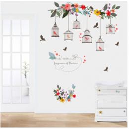 Çiçekçilere Özel Kuş Kafesi Sarmaşık Cam Vitrin Sticker Yapıştırma