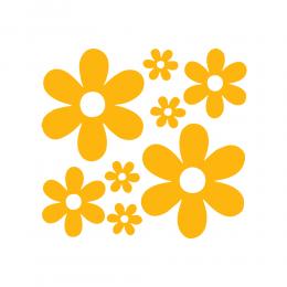 Kişiye Çiçekçilere Çoklu Papatya Deseni Sticker Yapıştırma