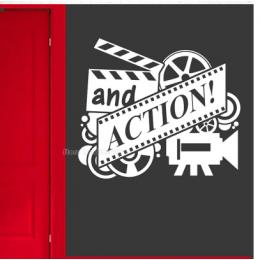 And Action Film ve Sinema Duvar Stickerı  115x50cm