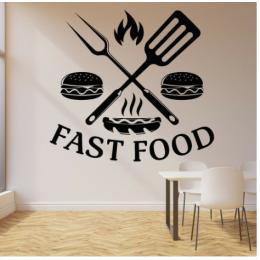 Kafe ve Restoranlara Özel  Fast Food Yazısı Cam Vitrin Sticker Yapıştırma