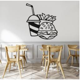 Kafe ve Restoranlara Özel  Fast Food  Hamburger Cola Patates  Yazısı Cam Vitrin Sticker Yapıştırma