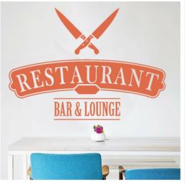 Kafe ve Restoranlara Özel  Bar & Lounge Yazısı Cam Vitrin Sticker Yapıştırma