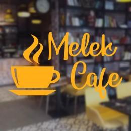 Kafe ve Restoranlara Özel Melek Cafe Yazısı Cam Vitrin Sticker Yapıştırma