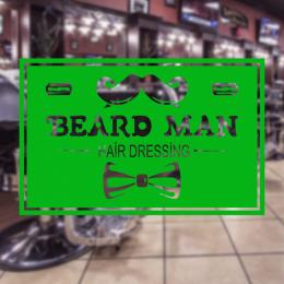 Berberlere ve Kuaförlere Özel Beard Man Hair Dressing Sticker Yapıştırma