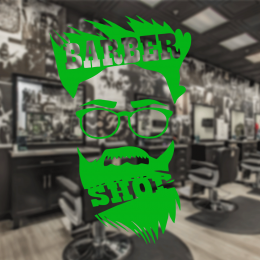 Berberlere ve Kuaförlere Özel Gözlüklü Adam Barber Shop Sticker Yapıştırma