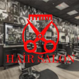 Berberlere ve Kuaförlere Özel Daire İçinde Makas Hair Salon Sticker Yapıştırma