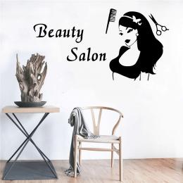 Kişiye Berberlere Özel Beauty Salon Kadın Silüeti Sticker Yapıştırma