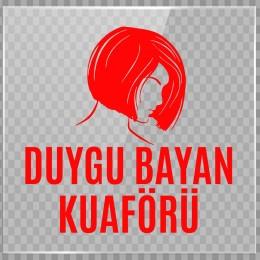 Kişiye Berberlere Kuaförlere Özel Duygu Bayan Kuaförü Logosu Yazısı Sticker Yapıştırma