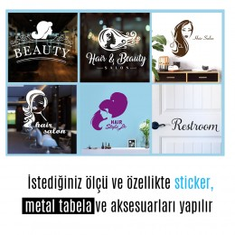 Kişiye Berberlere Kuaförlere Özel Berber Saç Kesim Makinesi ve Makas Sticker Yapıştırma