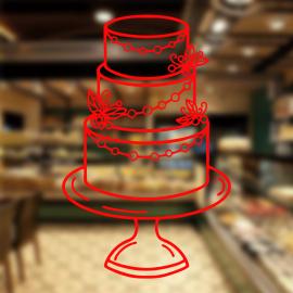 Fırın Ve Pastanelere Özel Çiçekli Düğün Pastası Sticker Yapıştırma