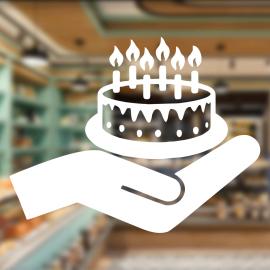 Fırın Ve Pastanelere Özel Doğum Günü Pastası Sticker Yapıştırma
