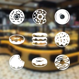 Fırın Ve Pastanelere Özel Donut Çeşitleri Sticker Yapıştırma