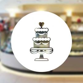 Fırın Ve Pastanelere Özel Kalpli Düğün Pastası Sticker Yapıştırma