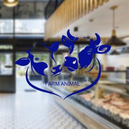 Kasap Ve Steak Houselara Özel Farm Animal Sticker Yapıştırma