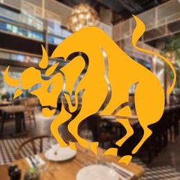 Kasap Ve Steak Houselara Özel Zıplayan Boğa Sticker Yapıştırma