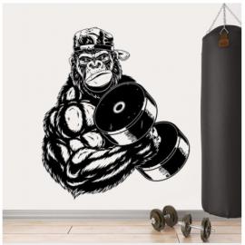 Gorilla Güçlü Vücut Yazısı Spor Salonu Duvar Stickerı
