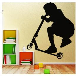 Scooter Binen Çocuk  Yazısı Spor Salonu Duvar Stickerı