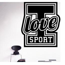 I love Sport Yazısı Spor Salonu Duvar Stickerı