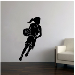 Basketbol Kız Oyuncusu Yazısı Spor Salonu Duvar Stickerı