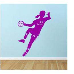 Hentbol Kız Oyuncusu Yazısı Spor Salonu Duvar Stickerı