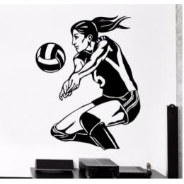 Voleybol Oyuncusu  Yazısı Spor Salonu Duvar Stickerı